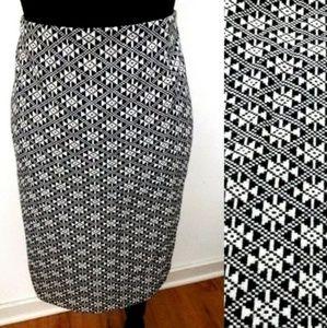 Jones New York Black/Multi Geometric Pencil Skirt